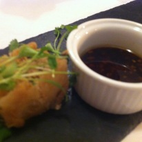 Amuse-bouche with amazing crispy chicken skin