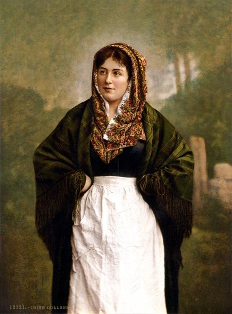 Irish_colleen_with_green_plaid_shawl,_1890s